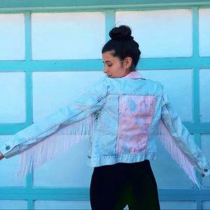 Jackets & Blazers - (Sold) Acid wash pink denim fringe jacket